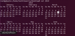 cal year command in linux